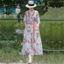 Dress Summer 2020 Decor Average size longuette singleton  three quarter sleeve commute V-neck middle-waisted Decor Socket other routine Others 35-39 years old Type A Know the brush and ink Retro Pocket, lace up, asymmetric, printed SGD S3120 More than 95% other hemp