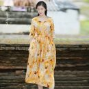 Dress Summer 2020 yellow S,M,L Mid length dress singleton  three quarter sleeve commute V-neck middle-waisted Broken flowers Single breasted Pleated skirt routine Others 35-39 years old Type A Know the brush and ink literature Pleats, folds, pockets, lace UPS, buttons, prints FX 45 More than 95% hemp