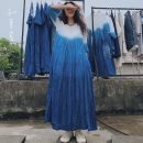 Dress Summer 2020 Light blue, blue white Average size longuette singleton  three quarter sleeve commute Crew neck Loose waist Solid color Socket Big swing routine Others 35-39 years old Type A Know the brush and ink Retro Fold, pocket, tie dye XG 614 More than 95% other hemp