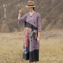 Dress Spring 2021 Purple embroidery M, L longuette singleton  three quarter sleeve commute Crew neck Loose waist Decor other other routine Others 35-39 years old Type A Know the brush and ink ethnic style Embroider, make old CX 20518 other cotton