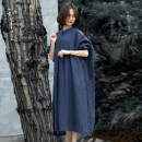 Dress Spring 2021 Navy, light brown Average size Mid length dress singleton  Long sleeves commute stand collar Loose waist Solid color A button A-line skirt Bat sleeve Others 35-39 years old Type A Know the brush and ink Retro Make old, button, pocket, stitching, pleating, pleating SNXY 2021224 other
