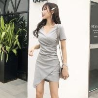 Dress Summer 2021 They are grey, black, red, long sleeve black and grey S,M,L,XL,2XL Mid length dress singleton  Short sleeve commute V-neck High waist Solid color Socket Pencil skirt Wrap sleeves 25-29 years old Type A Korean version More than 95% brocade cotton