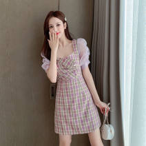 Dress Summer 2021 8830 purple pink, 8836 green, 8836 apricot, 8842 picture color, 8837 purple, 8837 blue, 8849 black, 8853 picture color, 8846 white, 8821 purple, 8821 sky blue, 8831 picture color, 8819 red, 8819 green, 8832 picture color, 8838 picture color S,M,L,XL,2XL Short skirt singleton  Sweet