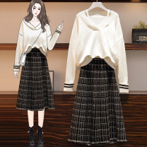 Women's large Winter 2020, autumn 2020 091 white sweater, 075 skirt L [90-120 Jin], XL [120-140 Jin], 2XL [140-160 Jin], 3XL [160-180 Jin], 4XL [180-200 Jin] sweater Two piece set commute easy moderate Socket Long sleeves Simplicity routine routine Sunai 091 Other / other Medium length