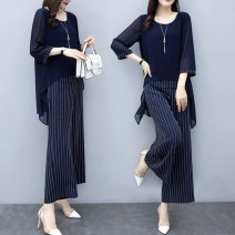 Women's large Summer 2020, autumn 2020 trousers Two piece set commute easy thin Socket three quarter sleeve Stripe, solid color Retro Crew neck Medium length Polyester, cotton Three dimensional cutting routine Gauze 81% (inclusive) - 90% (inclusive) other trousers other