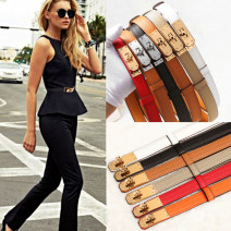 Belt / belt / chain top layer leather female belt Versatile Single loop Youth, middle age soft surface 1.8cm copper alone