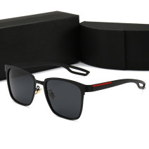 Sun glasses personality round face male square PC Less than 100 yuan Other / other Mirror cloth Anti UVA 0120 Black frame and black grey chip