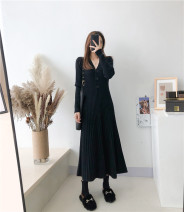 Dress Autumn 2020 Off white, blue, purple, khaki, black S,M,L,XL longuette singleton  Long sleeves commute V-neck High waist Solid color Three buttons A-line skirt routine Others 25-29 years old Type A Korean version knitting other