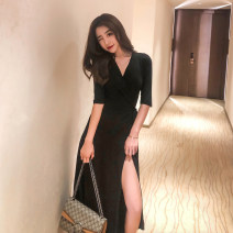 Dress Summer 2021 Black [medium sleeve], black [long sleeve], black [short sleeve] S,M,L,XL longuette singleton  elbow sleeve commute V-neck High waist Solid color other Big swing routine Others Type A Style by herz Korean version Lace up CAW-0010 91% (inclusive) - 95% (inclusive) knitting modal