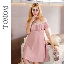 Dress Mother rabbit Skin powder S M L XL Korean version Short sleeve Medium length summer Crew neck Solid color polyester