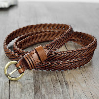 Belt / belt / chain other 1.3cm wide camel, 1.3cm wide black, 1.3cm wide white, 1.3cm wide pink, 1.3cm wide deep coffee, 1.3cm wide red, 1.3cm wide yellow female belt Versatile Single loop Youth, youth, middle age Pin buckle Round buckle Glossy surface 1.3cm alloy weave Long nosed pig 108cm