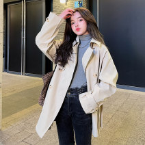 Windbreaker Spring 2021 S M L Shallow Khaki Long sleeves routine Medium length commute double-breasted tailored collar routine Solid color Self cultivation Korean version Ha Qian F134 18-24 years old Pocket lace up button 96% and above polyester fiber polyester fiber polyester fiber Polyester 100%