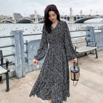 Dress Spring 2021 White flowers and black flowers S M L longuette singleton  Long sleeves commute V-neck High waist Broken flowers Socket A-line skirt routine Others 25-29 years old Type A Ha Qian Korean version Pocket lace up button print Q-17 More than 95% Chiffon polyester fiber Polyester 100%
