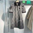Dress Spring 2021 Neutral Plaid S,M,L,XL Mid length dress singleton  Short sleeve commute Polo collar lattice Socket routine 25-29 years old Youduo Taiping bird flower Retro pocket More than 95%