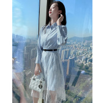 Dress Summer 2021 Dress suit S M L XL Mid length dress Two piece set Long sleeves commute Polo collar High waist stripe Single breasted A-line skirt shirt sleeve Others 25-29 years old Princess Tina Korean version Button lace More than 95% other polyester fiber Pure e-commerce (online only)