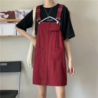 Dress commute A-line skirt Type A Korean version Summer 2021 Middle-skirt singleton  Sleeveless Solid color other 18-24 years old 71% (inclusive) - 80% (inclusive) cotton straps Denim Button, strap S,M,L,XL,2XL,3XL,4XL,5XL