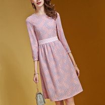 Dress Spring 2020 Pink S,M,L,XL,2XL Mid length dress singleton  three quarter sleeve commute Crew neck High waist other zipper A-line skirt routine Others Retro Zipper, lace