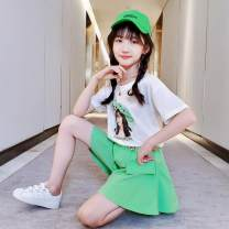suit Other / other Fluorescent green, orange 110cm,120cm,130cm,140cm,150cm,160cm female summer Korean version Short sleeve + pants 2 pieces Thin money There are models in the real shooting Socket nothing Cartoon animation cotton children Expression of love Class B Chinese Mainland Shanghai