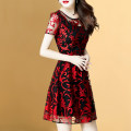 Dress Summer of 2018 Red (small quantity in stock) M L XL XXL XXXL Middle-skirt singleton  Short sleeve commute Crew neck middle-waisted other zipper A-line skirt routine Others 25-29 years old Type A Weiwei Korean version Hollow mesh zipper More than 95% other polyester fiber Polyester 100%
