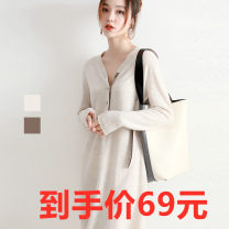 Wool knitwear Spring of 2019 S.,M.,L.,XL.,2XL.,3XL. Beige. Camel. Black Long sleeves singleton  Socket other 71% (inclusive) - 80% (inclusive) Medium length routine commute easy V-neck routine Solid color Single breasted Button