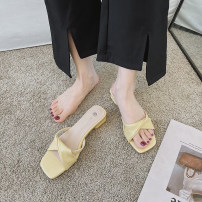 slipper Paijiei / pajani Thick heel Middle heel (3-5cm) PU Summer 2021 rubber daily Korean version Adhesive shoes Youth (18-40 years old) Solid color nb000022 PU PU Pure e-commerce (online sales only) Black yellow blue off white 35 36 37 38 39 40