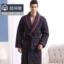 Nightgown / bathrobe Bi Qiumei male L(170) XL(175) XXL(180) XXXL(185) thickening Simplicity cotton winter More than 95% Medium length (knee to Mid Calf) Knitted cotton fabric lattice middle age printing 400g and above