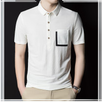 T-shirt Fashion City White, black, navy routine 48,50,52,54,56 Lilanz / LiLang Short sleeve Lapel standard Other leisure summer youth routine Business Casual other 2021 Solid color Button decoration polyester cotton Geometric pattern No iron treatment