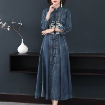 Dress Spring 2021 Dark blue 1, blue 2 S,M,L,XL,2XL,3XL longuette singleton  three quarter sleeve commute stand collar High waist Solid color Single breasted A-line skirt routine Others 30-34 years old Type A ethnic style Embroidery, buttons Denim cotton