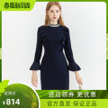 Dress Winter 2020 Tibetan blue Mid length dress singleton  Long sleeves commute Crew neck middle-waisted Socket A-line skirt routine 30-34 years old Type X Sound Ol style More than 95% polyester fiber