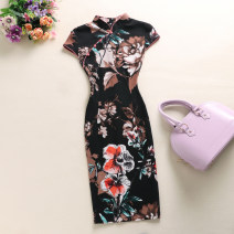 cheongsam Summer of 2018 S,M,L,XL,2XL,3XL,4XL,5XL Short sleeve Short cheongsam Retro Low slit daily Ruyi lapel Decor Piping cotton 31% (inclusive) - 50% (inclusive)
