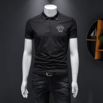 Polo shirt Versace collection Youth fashion routine White, black, black long sleeves [embroidery technology] M,L,XL,2XL,3XL,4XL,5XL Self cultivation go to work summer Short sleeve Exquisite Korean style routine youth 2021 character Cotton ammonia washing Embroidery