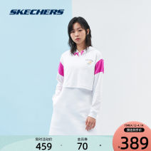 Sports dress L121W043 female SKECHERS / SKECHERS Bright white / 0019 blue pollen / 0093 XS 150/80A S  155/80A M 160/84A L 165/88A XL 170/92A XXL 175/96A Spring 2021 Long sleeves Socket Hood Brand logo yes Sports & Leisure