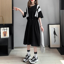 T-shirt Black grey Average size Summer 2021 Short sleeve Crew neck easy Medium length routine commute cotton 96% and above 18-24 years old Korean version originality Solid color Boli square Frenulum Cotton 96% pet 4% Pure e-commerce (online only)