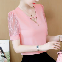 T-shirt Black, pink, red, light blue S,M,L,XL,2XL,3XL Summer 2021 Short sleeve V-neck easy Regular routine commute other 96% and above 30-34 years old Korean version originality Solid color, stitching Printing, stitching, mesh, embroidery, lace, hollow out