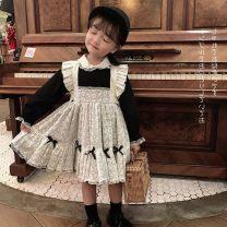 Dress female 80cm,90cm,100cm,110cm,120cm,130cm Cotton 100% spring and autumn princess Long sleeves cotton Pleats Class B 12 months, 18 months, 2 years old, 3 years old, 4 years old, 5 years old, 6 years old, 7 years old, 8 years old
