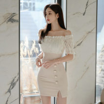 Dress Summer 2020 Apricot S,M,L,XL Short skirt singleton  Short sleeve commute One word collar Solid color One pace skirt routine 18-24 years old Korean version Backless, stitching, buttons, zippers, lace