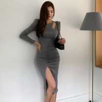 Dress Autumn 2020 dark grey S,M,L,XL Mid length dress singleton  Long sleeves commute Crew neck High waist Solid color Socket One pace skirt routine 18-24 years old Korean version Hollowed out, pleated