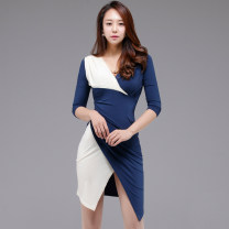 Dress Autumn of 2018 Picture color S,M,L,XL Mid length dress singleton  three quarter sleeve commute V-neck High waist Solid color zipper Pencil skirt Others 18-24 years old Korean version Pleated, stitched, asymmetrical, zipper