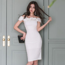 Dress Summer of 2019 white S,M,L,XL Mid length dress singleton  Short sleeve commute One word collar High waist Solid color zipper Pencil skirt Others 18-24 years old Korean version
