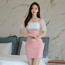 Dress Summer 2020 Pink S,M,L,XL Short skirt Fake two pieces Short sleeve commute square neck High waist Solid color zipper One pace skirt bishop sleeve 18-24 years old Korean version Panel, button, zipper