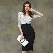 Dress Autumn of 2019 white S,M,L,XL Mid length dress singleton  three quarter sleeve commute V-neck High waist Decor zipper Pencil skirt Others 18-24 years old Korean version Bow, ruffle, stitching, zipper, lace