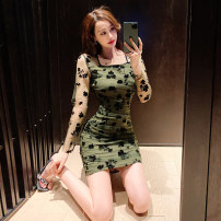 Dress Spring 2021 green S,M,L Short skirt singleton  Long sleeves commute square neck High waist Solid color zipper One pace skirt routine 18-24 years old Type H Korean version Pleat, stitching, mesh, zipper, printing