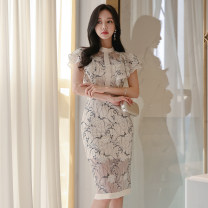 Dress Summer of 2019 Off white S,M,L,XL Mid length dress singleton  Short sleeve commute stand collar High waist Solid color zipper Pencil skirt Others 18-24 years old Korean version Ruffles, open back, stitching, buttons, zippers, lace