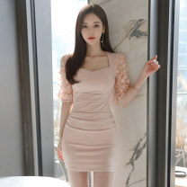 Dress Summer 2020 Pink S,M,L,XL Short skirt singleton  elbow sleeve commute V-neck High waist Solid color zipper One pace skirt routine Others 18-24 years old Korean version