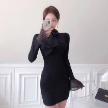 Dress Autumn 2020 black S,M,L,XL Short skirt singleton  Long sleeves commute Crew neck High waist Solid color Socket One pace skirt pagoda sleeve Others 18-24 years old Type X Korean version Bows, hollows, buttons