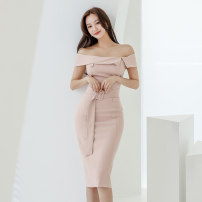 Dress Summer 2020 Pink S,M,L,XL Mid length dress singleton  Sleeveless commute One word collar High waist Solid color zipper One pace skirt routine 18-24 years old Korean version Lace up, panel, button