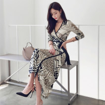 Dress Spring of 2019 Picture color S,M,L,XL longuette singleton  Long sleeves commute V-neck High waist Decor other One pace skirt Others 18-24 years old Korean version Bow, tie, print