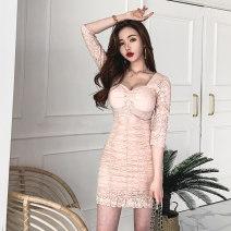 Dress Autumn 2020 Black, pink S,M,L,XL Short skirt singleton  three quarter sleeve commute V-neck High waist Solid color zipper Ruffle Skirt routine 18-24 years old Korean version Ruffles, folds, stitching, zippers, lace