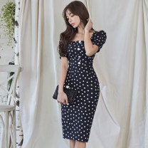 Dress Summer 2020 black S,M,L,XL Mid length dress singleton  Short sleeve commute square neck High waist Dot zipper One pace skirt puff sleeve Others 18-24 years old Korean version Panel, button, zipper