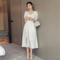 Dress Summer 2020 white S,M,L,XL longuette singleton  Short sleeve commute V-neck High waist Solid color zipper A-line skirt puff sleeve 18-24 years old Korean version Fold, Auricularia auricula, stitching, zipper